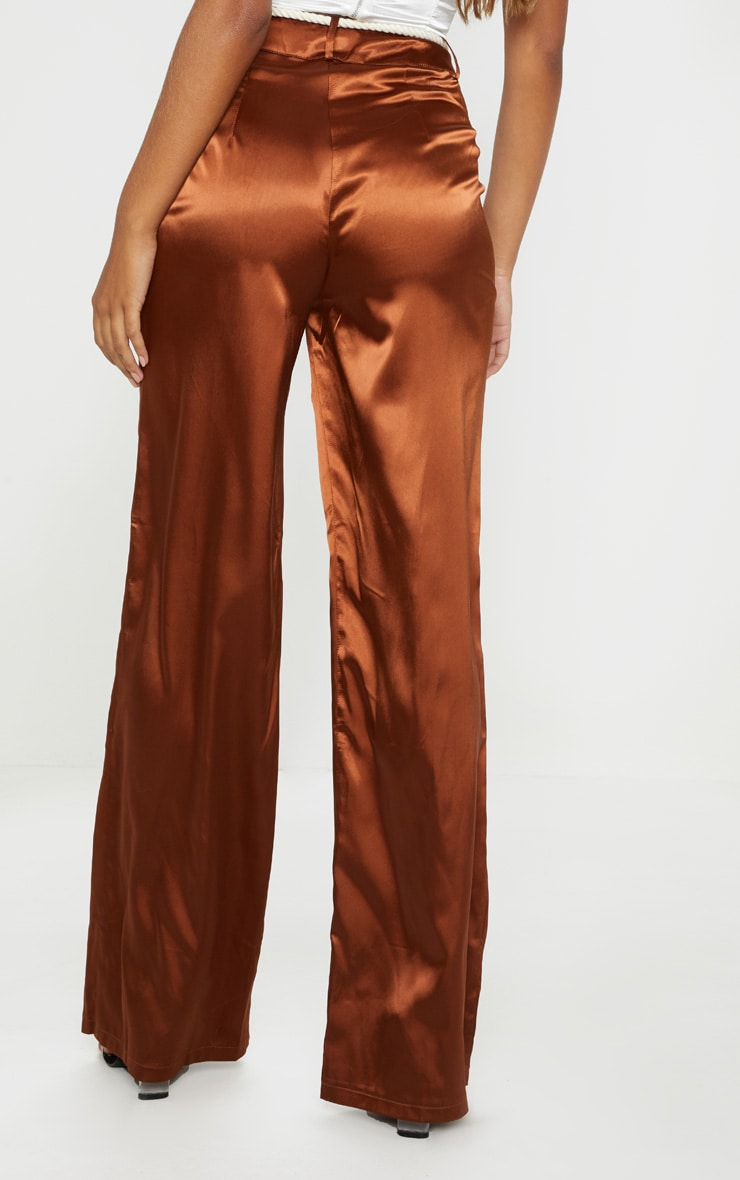 Chocolate Satin Rope Belt Wide Leg Pants 4