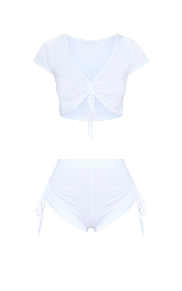 White Ruched Top And Short PJ Set 3