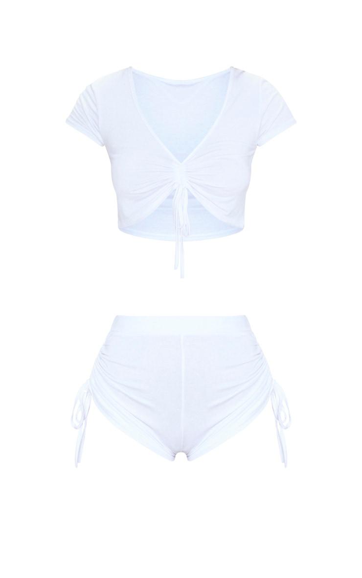 Pyjama short + top blanc froncé 3