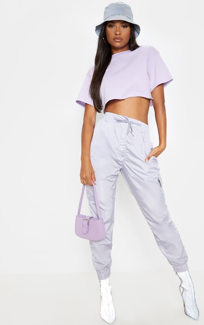 Dusty Lilac Shell Pocket Detail Cargo Trouser