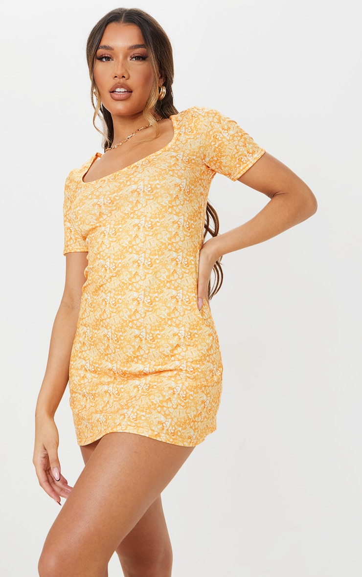 Yellow Butterfly Print Square Neck Shift Dress 3