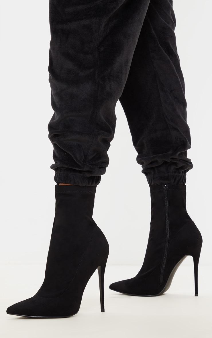Black High Point Stiletto Sock Boot 2