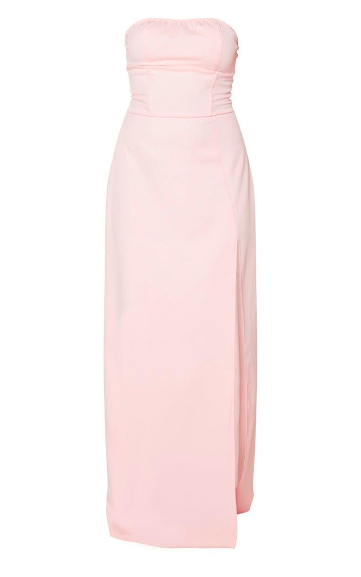 Pale Pink Corset Detail Bandeau Maxi Dress 5
