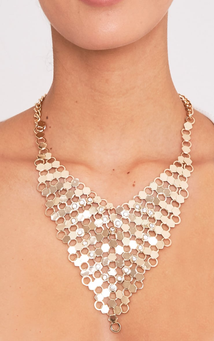 Maleana Gold Chainmail Drop Necklace 1