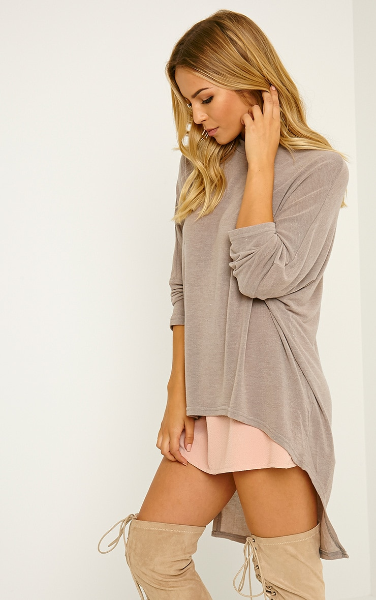 Pryah Taupe Fine Knit Drop Hem Top 1