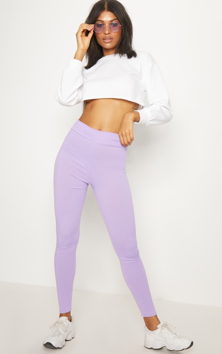 Lilac Ribbed High Waisted Legging  1