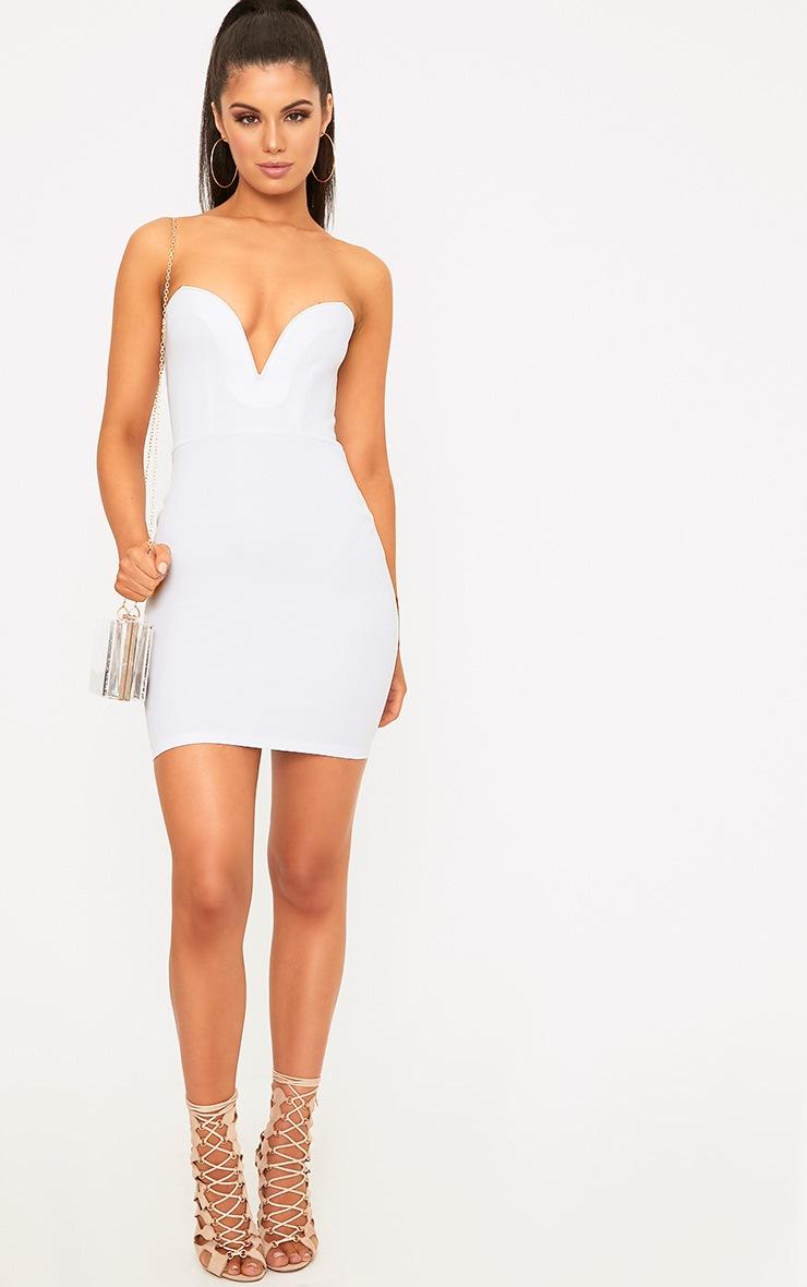 White Bandeau Bodycon Dress  4