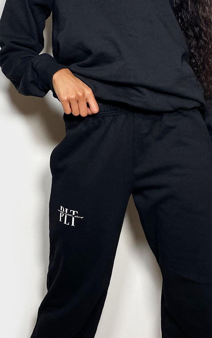 PRETTYLITTLETHING Black Graphic Printed Joggers 4