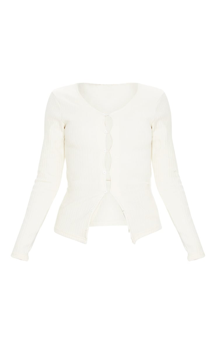 Ivory Button Front Rib Knit Cardigan 3