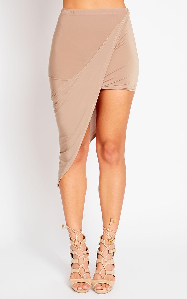 Alba Camel Slinky Drape Skirt 2