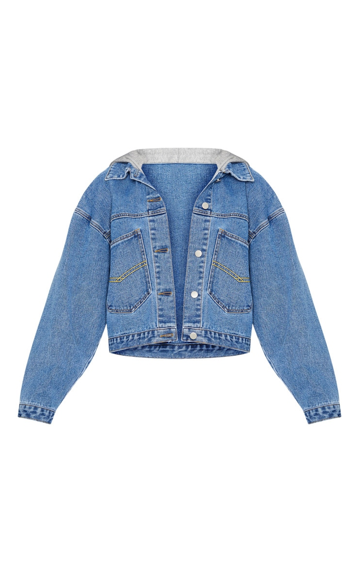 Mid Wash Hooded Oversized Denim Jacket 3