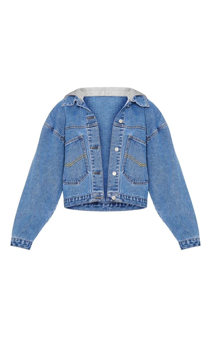 Veste en jean oversize bleu moyennement délavé à capuche 3