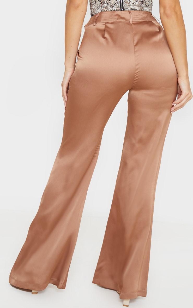 Tan Satin Flared Pants 4