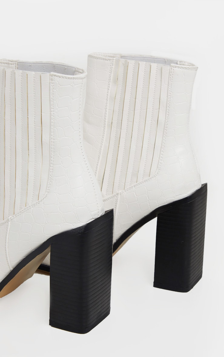 White Croc Block Heel Square Toe Western Boot 4