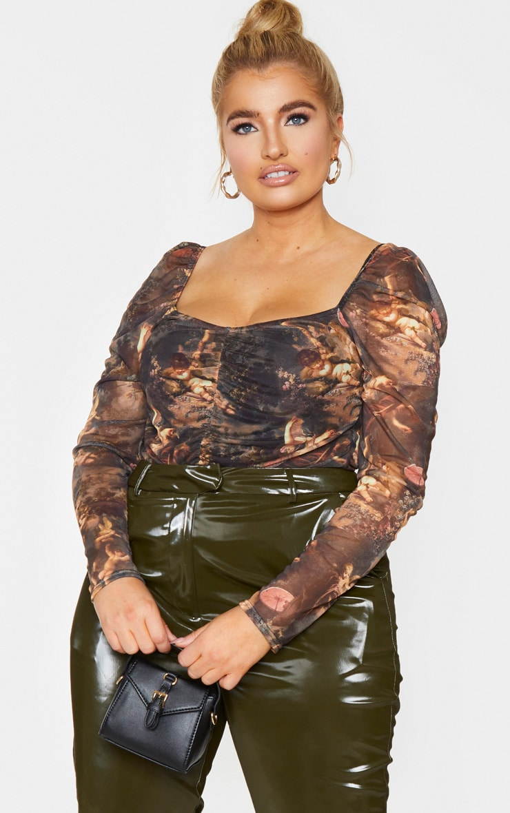 Plus Brown Print Mesh Ruched Front Puff Sleeve Bodysuit 1