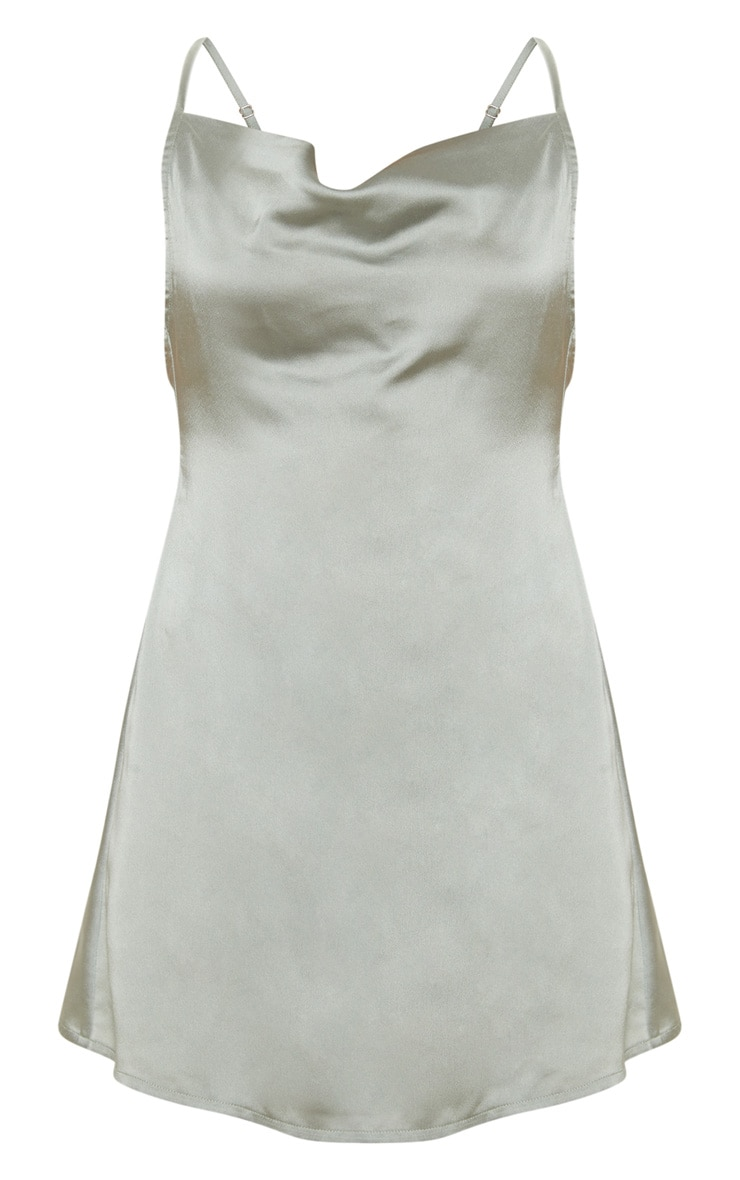 Sage Green Satin Cowl Neck Shift Dress 3
