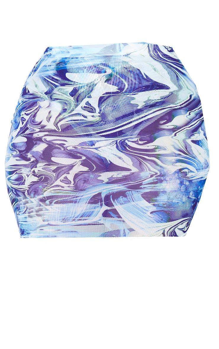 PLT Plus - Mini-jupe en mesh bleu imprimé vague 7