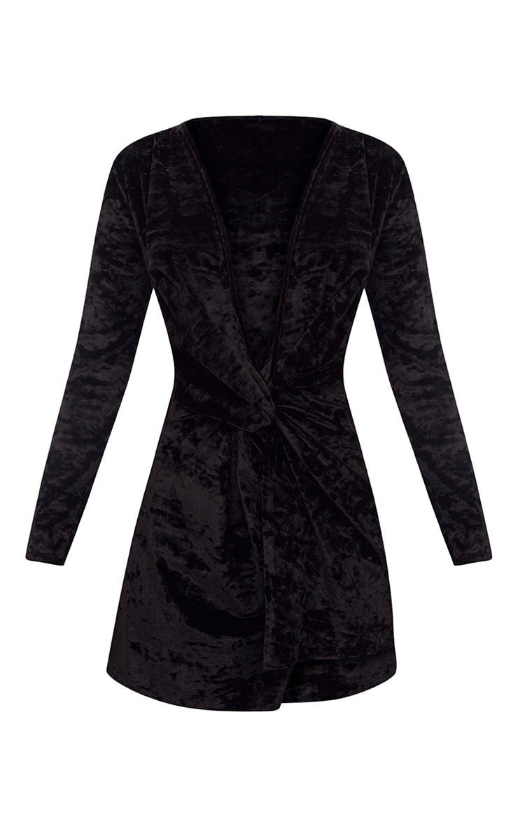 Black Velvet Knot Front Long Sleeve Bodycon Dress 3