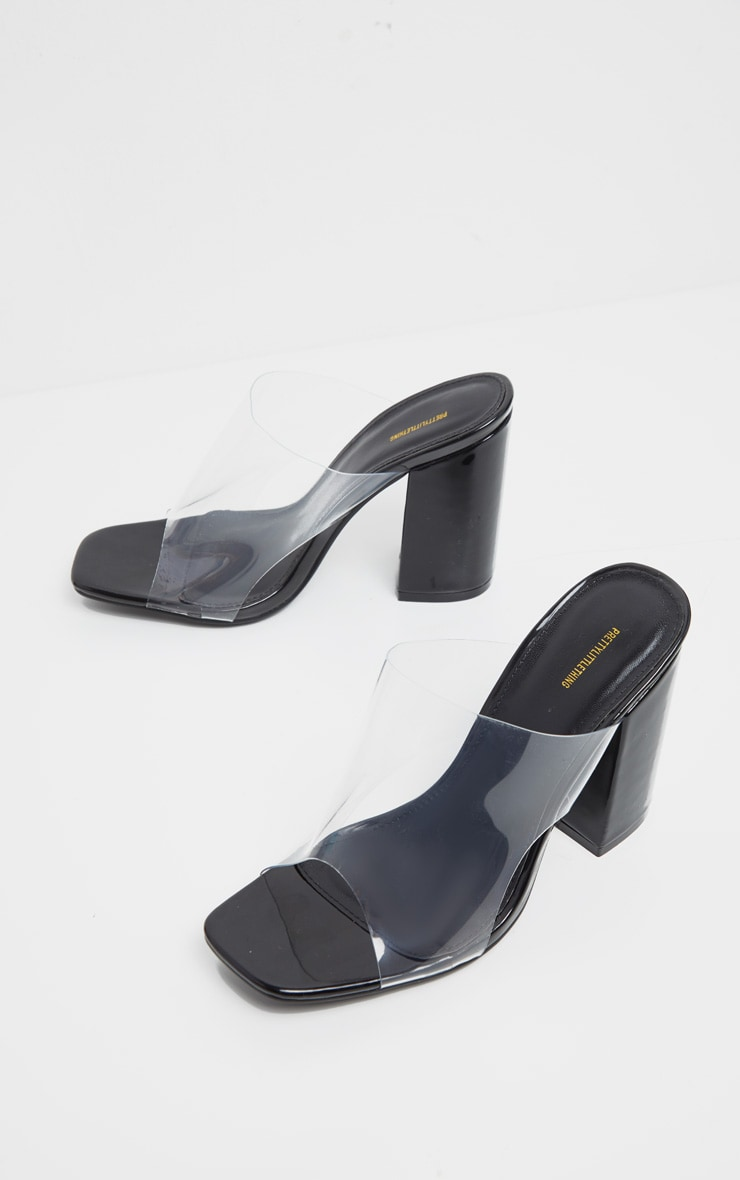 Black Square Toe Block Heel Clear Mules 3