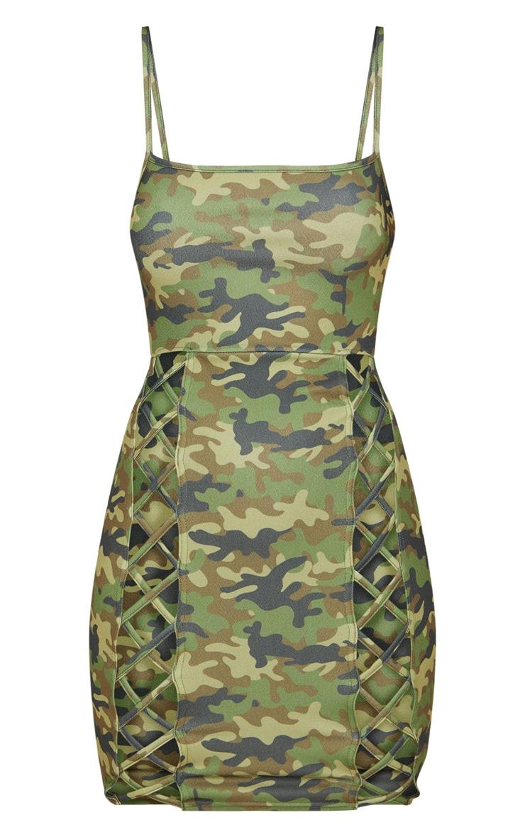 Green Camo Strappy Square Neck Lace Up Thigh Bodycon Dress 3