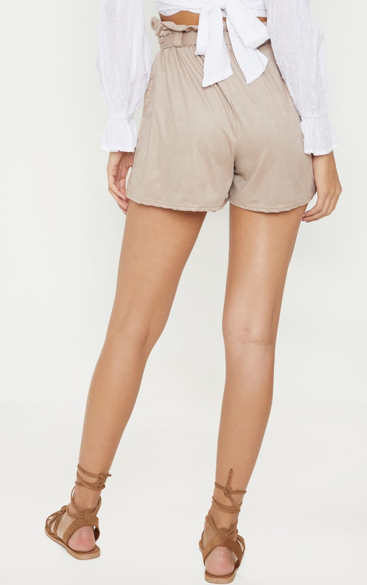 Cream Faux Suede Tie Waist Short  4