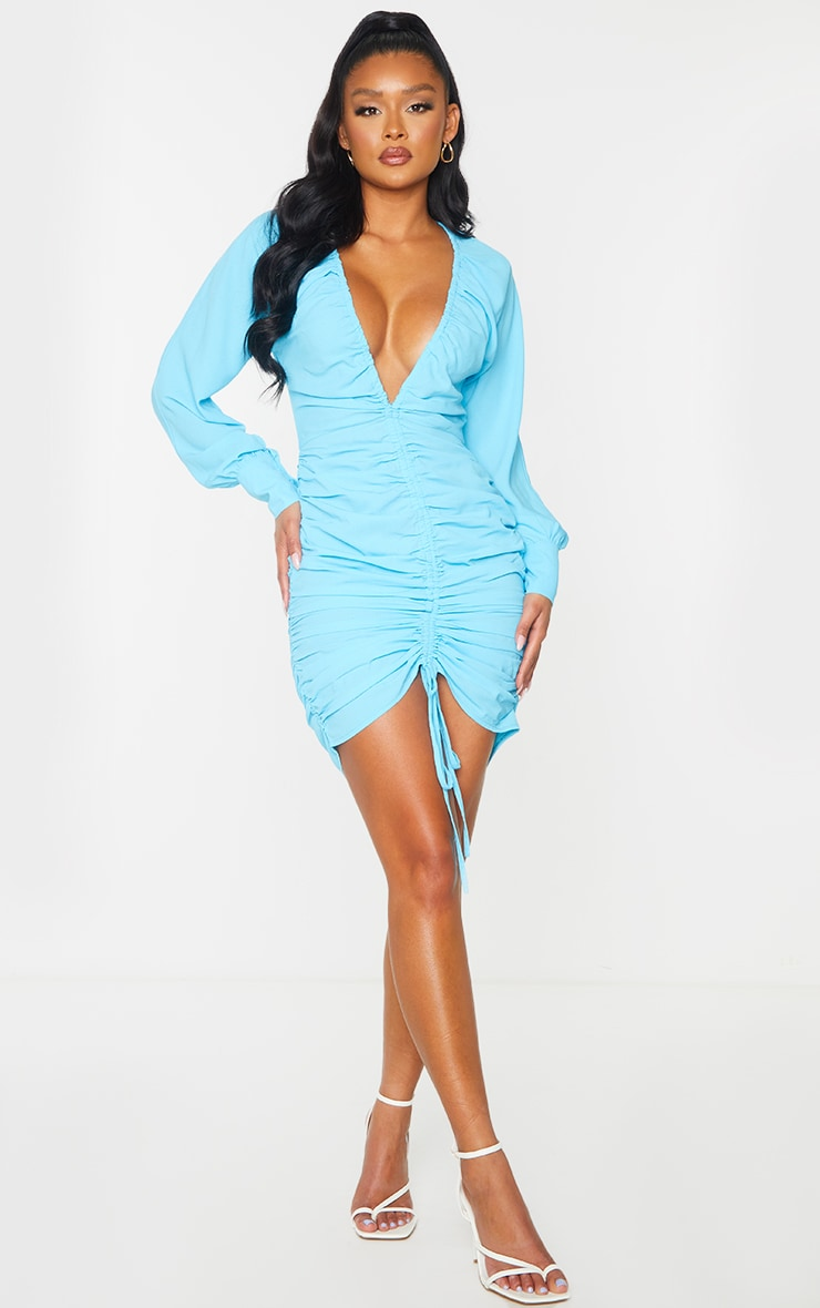 Aqua Blue Woven Ruched Plunge Long Sleeve Bodycon Dress 3