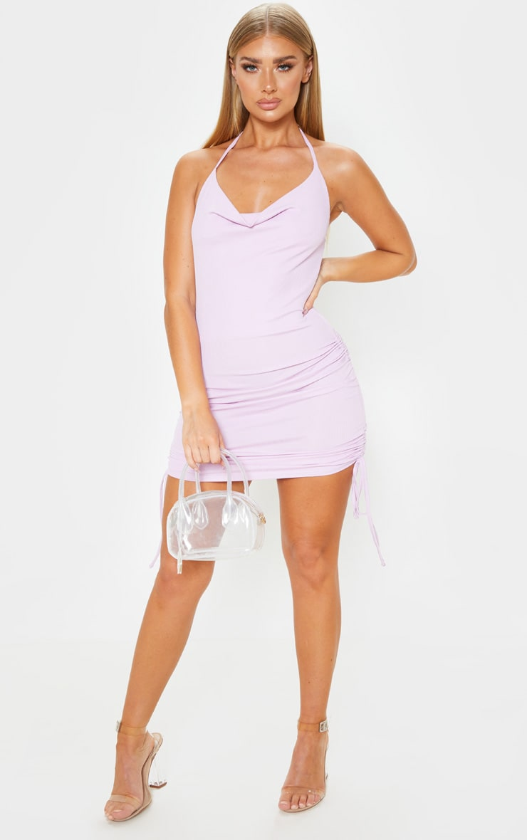Lilac Ribbed Halterneck Cowl Ruched Bodycon Dress 1