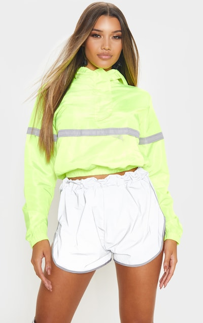 Neon Yellow Shell Reflective Tape Tracksuit Jacket