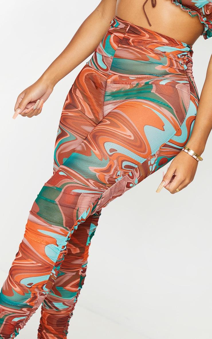 Shape - Legging en mesh transparent marron imprimé marbré froncé 4