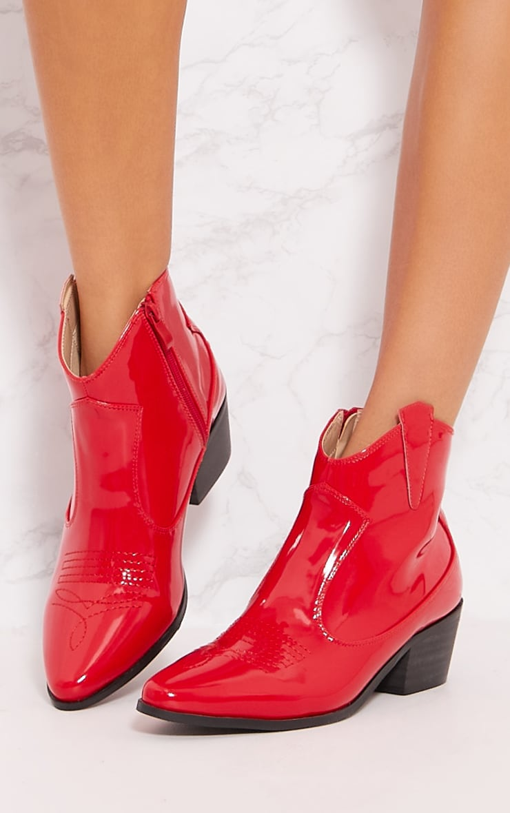 Red Patent Western Ankle Boot 4