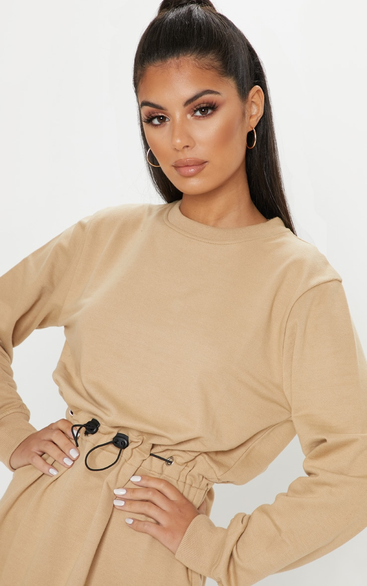 Sand Toggle Front Sweat Jumper Dress 5