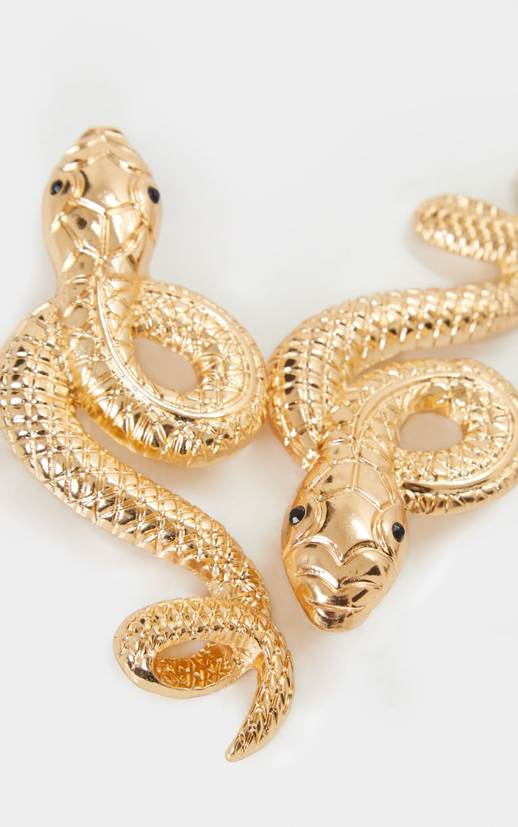 Gold Oversized Twisted Snake Earrings 3