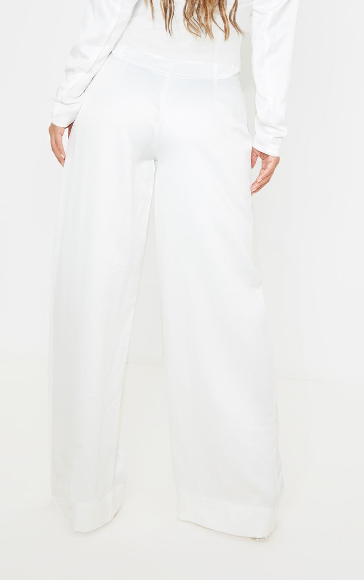 Petite White Satin Wide Leg Trouser  3