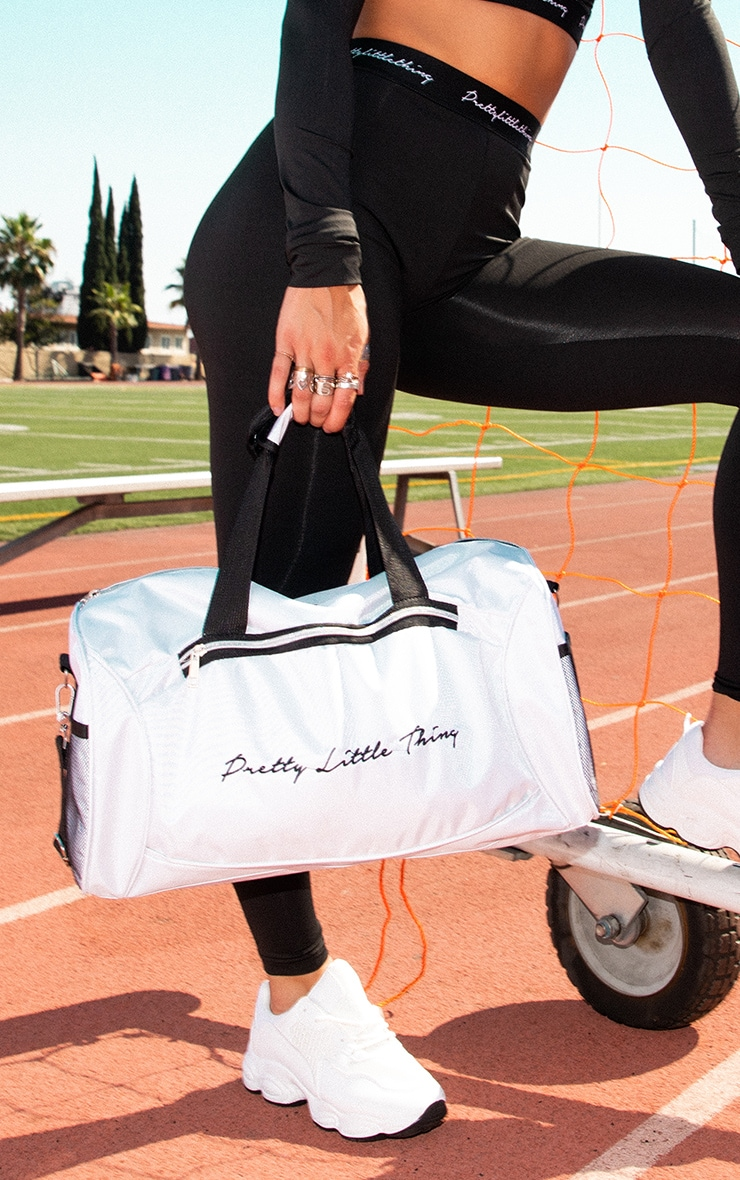 PRETTYLITTLETHING White Logo Gym Bag