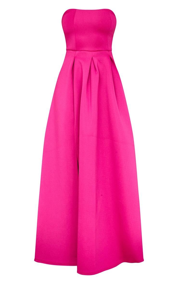 Hot Pink Scuba Bandeau Maxi Dress 5