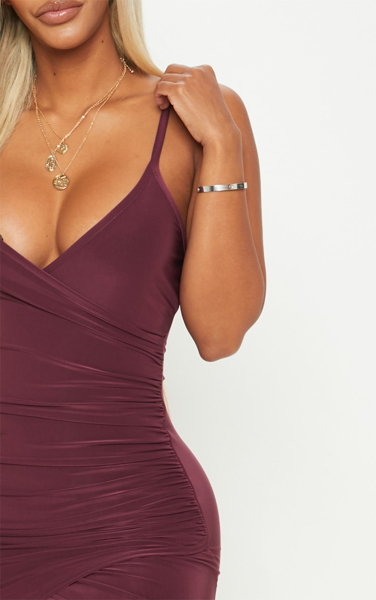 Shape Burgundy Ruched Side Strappy Bodycon Dress 5