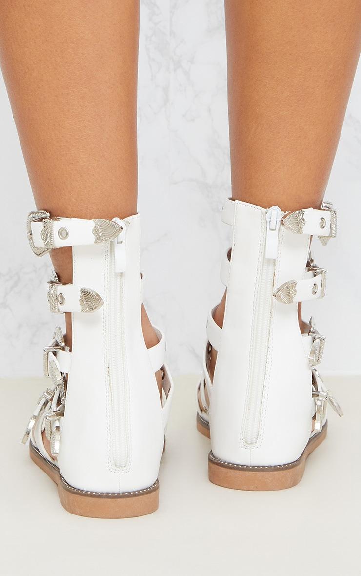 White Western Buckle Ankle Gladiator Sandal 4