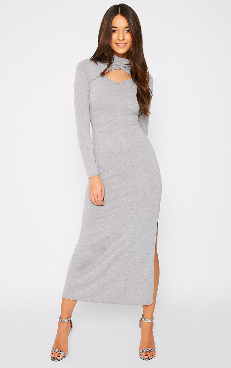 Saskia Grey Long Sleeve Cut Out Maxi Dress 1