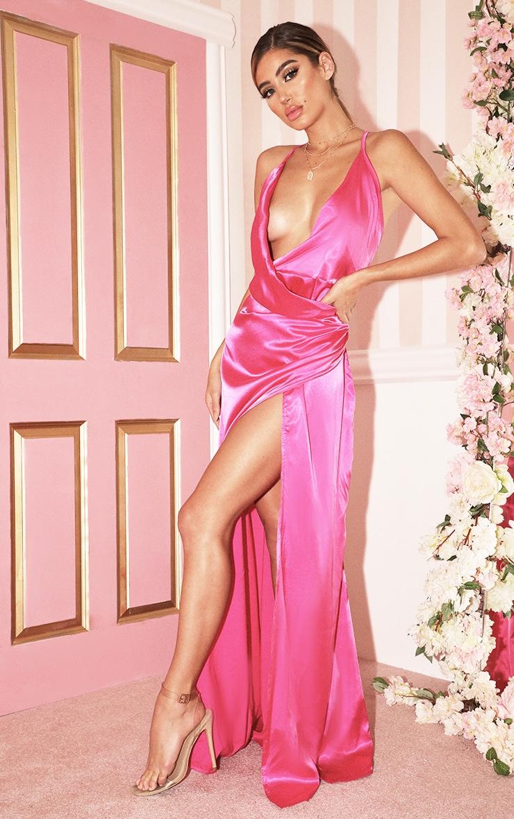 Hot Pink Satin Maxi Dress 4