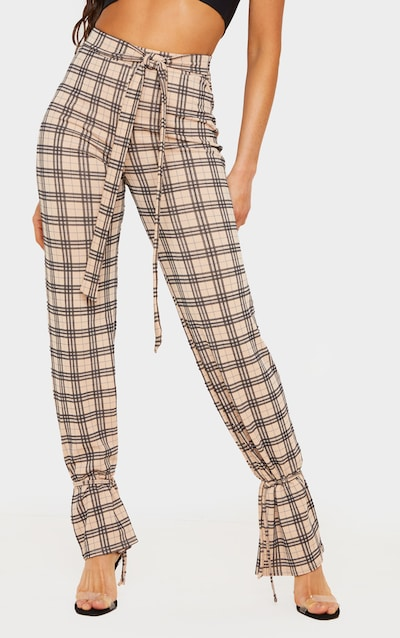 Cream Check Tie Hem Trousers