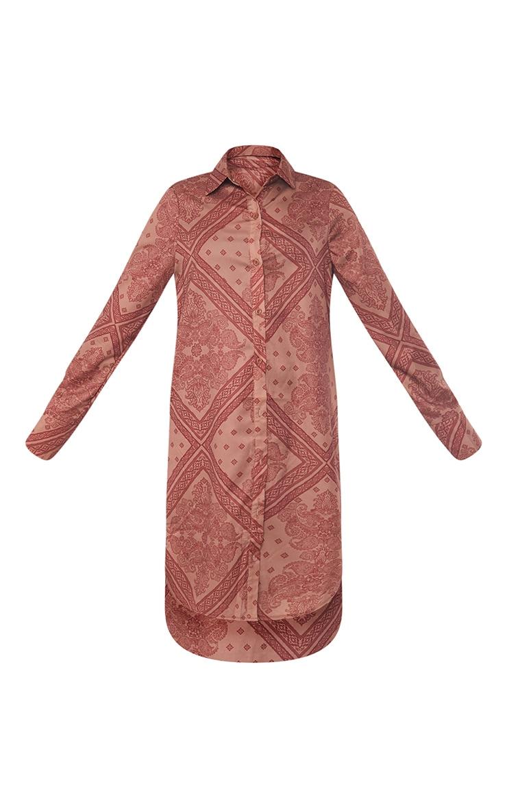 Rust Printed Split Hem Shirt Dress 5