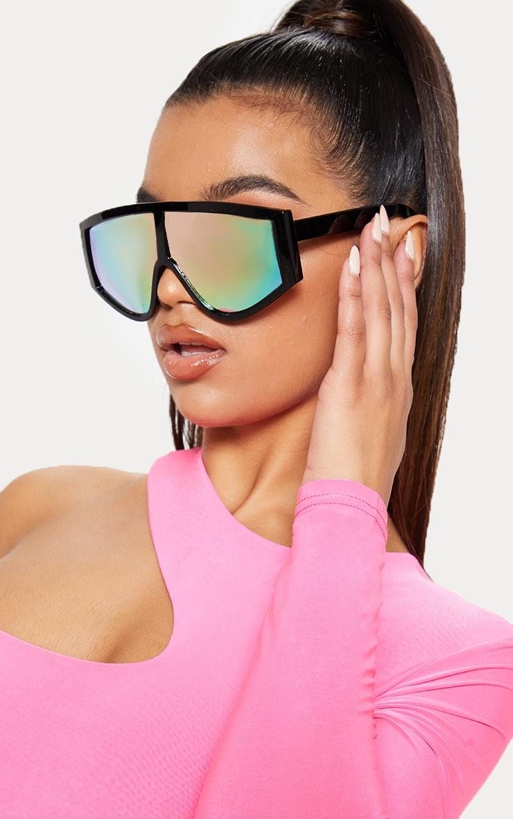Black Frame Rose Lens Flat Top Modern Sunglasses 1