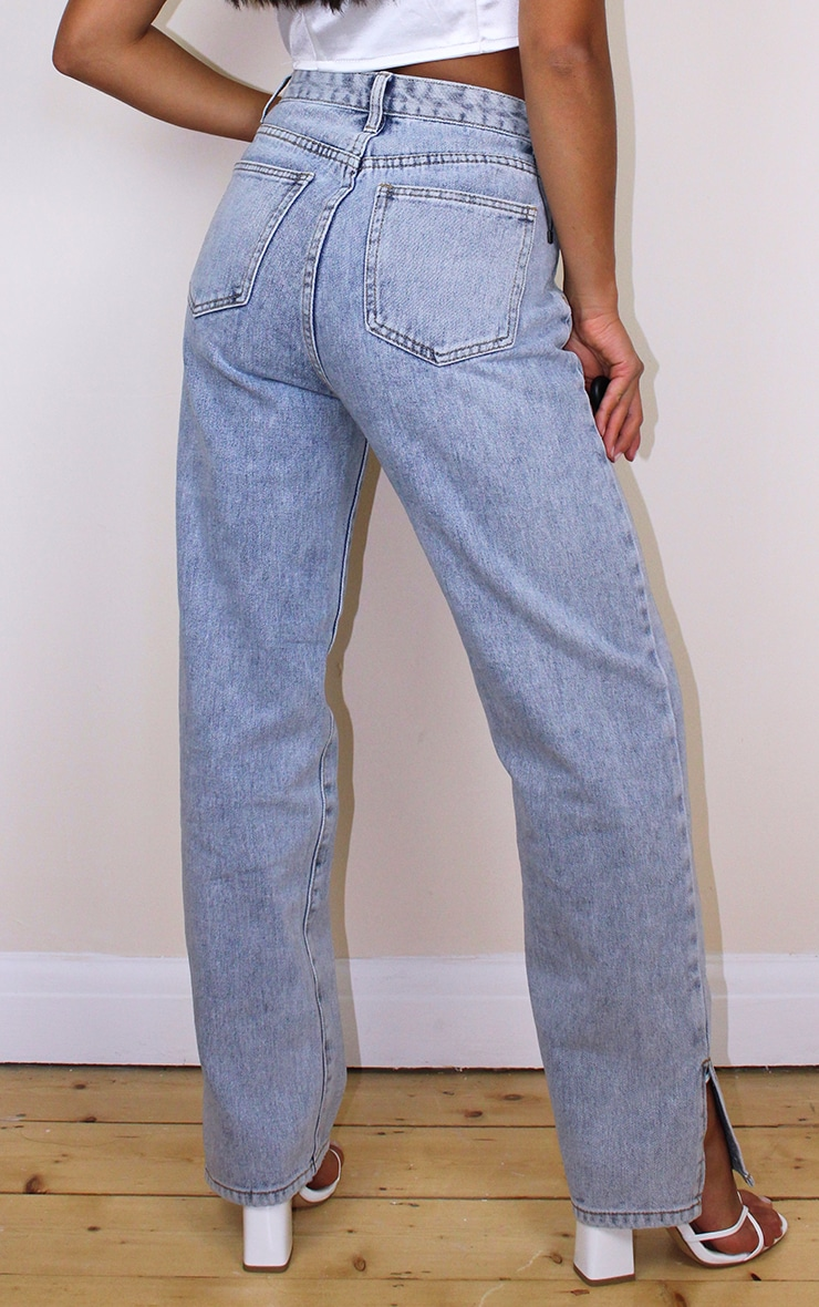 Petite Bleach Wash Split Hem Jeans 3