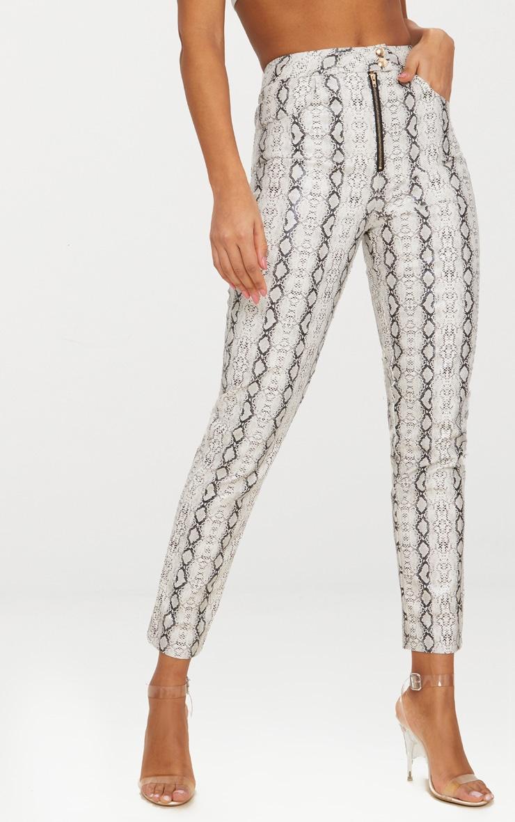 Grey Front Zip Snake Print Trouser  2