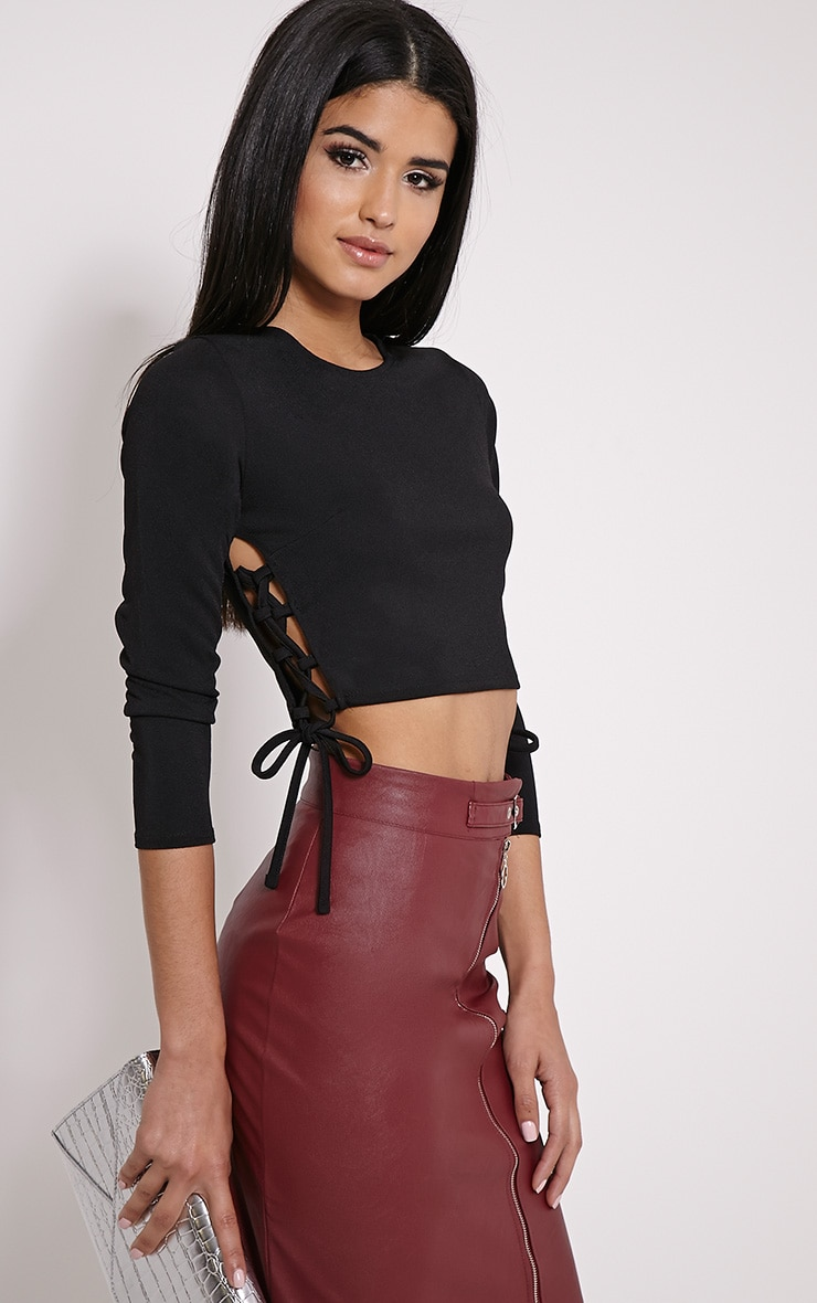 Analia Black Lace Up Side Crop Top 1
