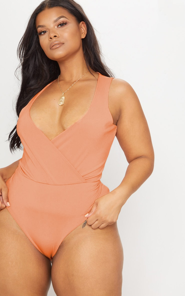 Plus Coral Slinky Wrap Detail Swimsuit 1