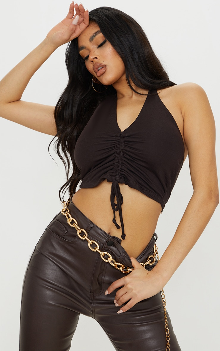 Chocolate Jersey Halter Ruched Drawstring Front Crop Top 1