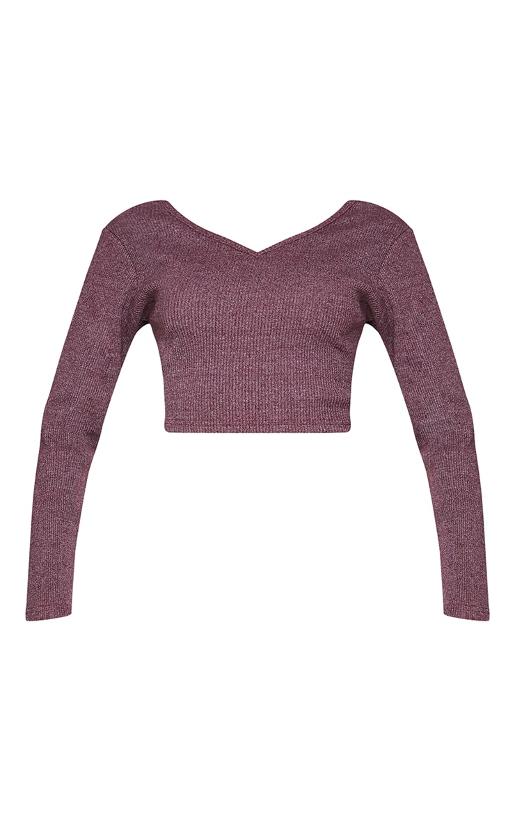Burgundy Marl Rib Long Sleeve Crop Top 5