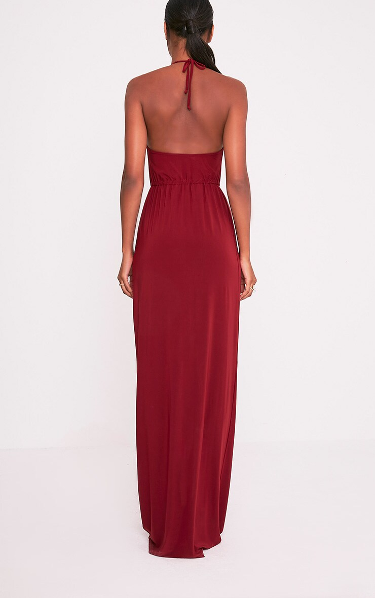 Charlee Burgundy Slinky Front Split Maxi Dress 2