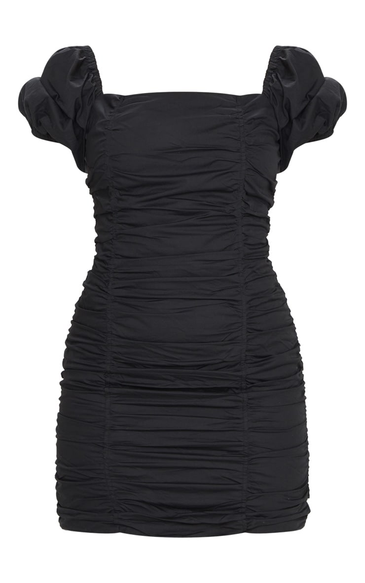 Black Square Neck Ruched Front Short Sleeve Bodycon Dress 5